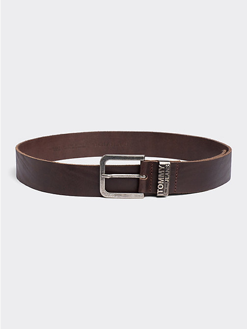 TOMMY JEANS Distressed Look Leather Belt - TESTA DI MORO - TOMMY JEANS Tommy Jeans Accessories - main image