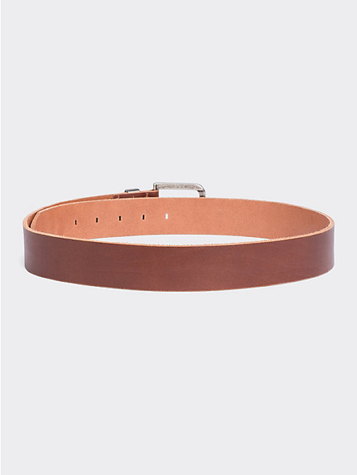 TOMMY JEANS Distressed Look Leather Belt - DARK TAN - TOMMY JEANS Shoes & Accessories - detail image 1