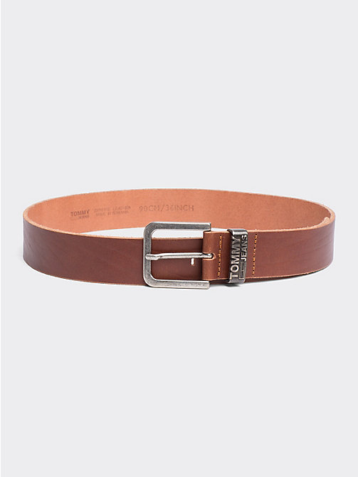 TOMMY JEANS Distressed Look Leather Belt - DARK TAN - TOMMY JEANS Tommy Jeans Accessories - main image
