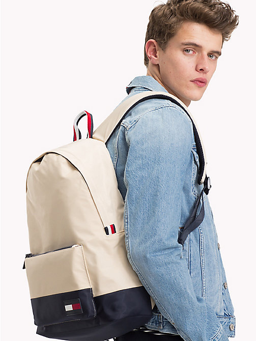 TOMMY HILFIGER Escape Travel Backpack with Top Handle - OYSTER GREY / TOMMY NAVY - TOMMY HILFIGER Backpacks - detail image 1