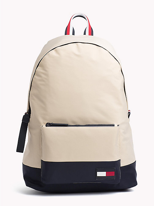TOMMY HILFIGER Escape Travel Backpack with Top Handle - OYSTER GREY / TOMMY NAVY - TOMMY HILFIGER Backpacks - main image