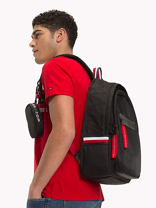 TOMMY HILFIGER Explorer Signature Tape Detail Backpack - BLACK -  Backpacks - detail image 1