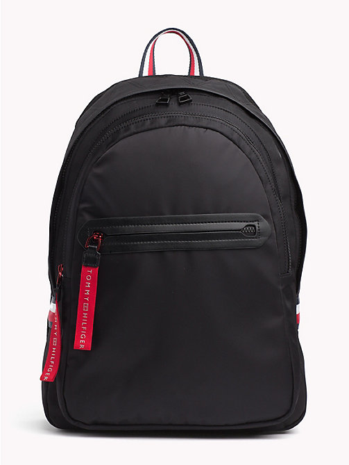 TOMMY HILFIGER Explorer Signature Tape Detail Backpack - BLACK - TOMMY HILFIGER Bags & Accessories - main image