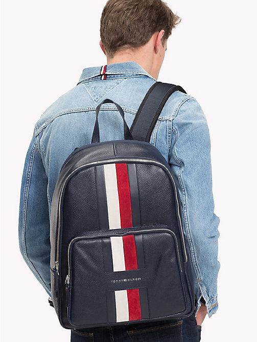 TOMMY HILFIGER Heritage Signature Tape Leather Backpack - TOMMY NAVY - TOMMY HILFIGER NEW IN - detail image 1