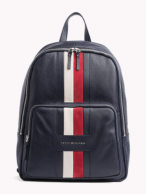 TOMMY HILFIGER Heritage Signature Tape Leather Backpack - TOMMY NAVY - TOMMY HILFIGER NEW IN - main image