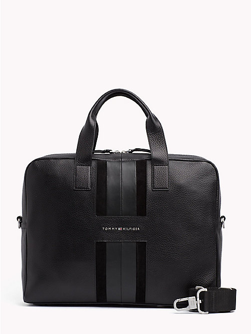 TOMMY HILFIGER Heritage Leather Computer Bag - BLACK - TOMMY HILFIGER Laptop Bags - main image