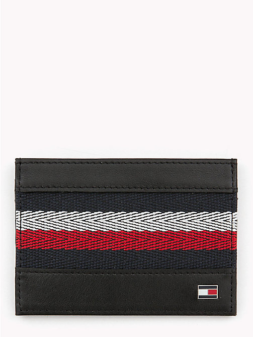 TOMMY HILFIGER Signature Stripe Card Holder - BLACK - TOMMY HILFIGER NEW IN - main image