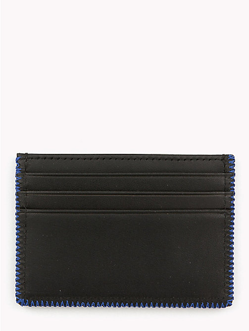 TOMMY HILFIGER Edge Stitch Leather Card Holder - BLACK - TOMMY HILFIGER NEW IN - detail image 1