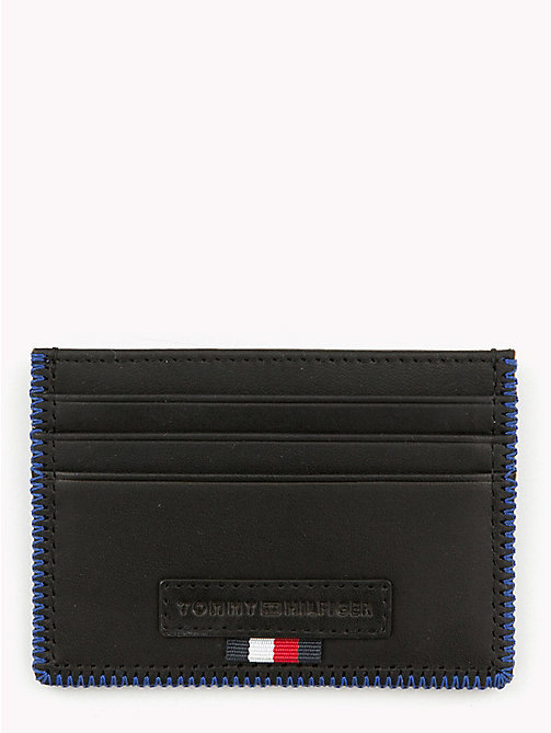 TOMMY HILFIGER Edge Stitch Leather Card Holder - BLACK - TOMMY HILFIGER Bags & Accessories - main image