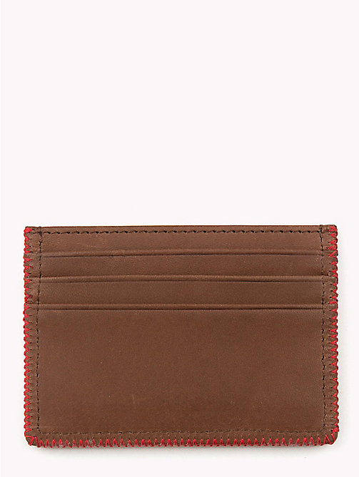 TOMMY HILFIGER Edge Stitch Leather Card Holder - BROWN - TOMMY HILFIGER Bags & Accessories - detail image 1