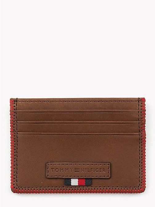 TOMMY HILFIGER Edge Stitch Leather Card Holder - BROWN - TOMMY HILFIGER Bags & Accessories - main image