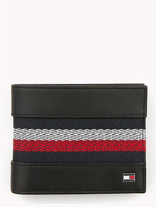 TOMMY HILFIGER Signature Stripe Fold Over Leather Wallet - BLACK - TOMMY HILFIGER NEW IN - main image