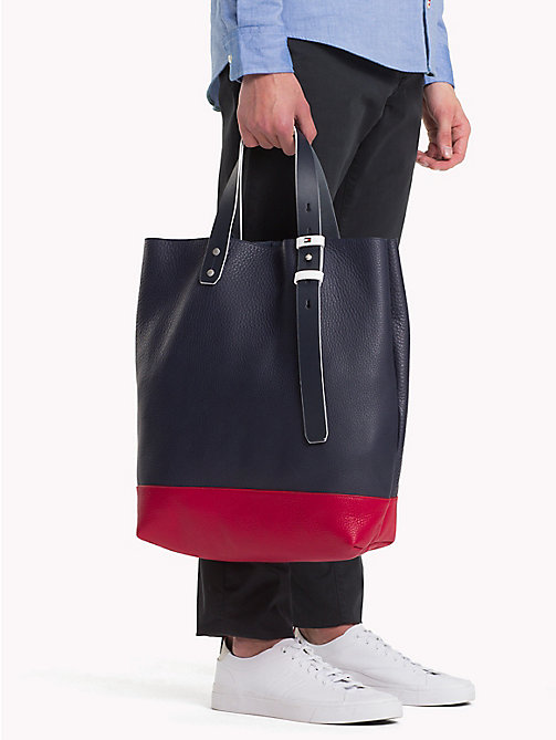 TOMMY HILFIGER Iconic Colour-Blocked Leather Tote - RWB - TOMMY HILFIGER Bags & Accessories - detail image 1