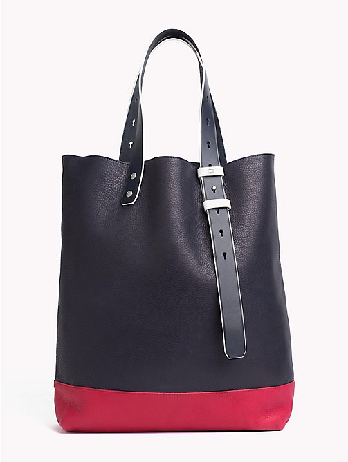 TOMMY HILFIGER Iconic Colour-Blocked Leather Tote - RWB - TOMMY HILFIGER Bags & Accessories - main image