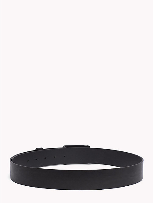 TOMMY JEANS Logo Plaque Leather Belt - BLACK - TOMMY JEANS VACATION FOR HIM - detail image 1