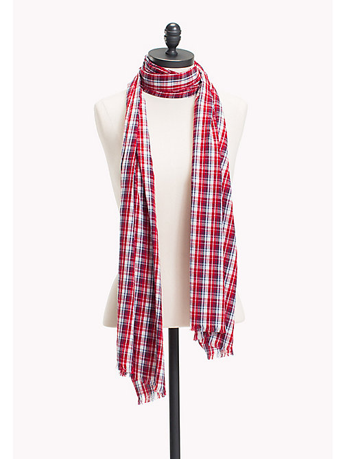 TOMMY HILFIGER Plaid Print Scarf - TOMMY RED - TOMMY HILFIGER Scarves - main image
