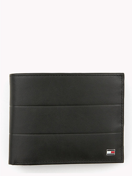 TOMMY HILFIGER Embossed Leather Wallet - BLACK - TOMMY HILFIGER NEW IN - main image