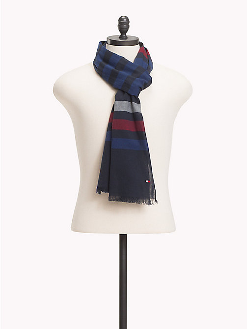 TOMMY HILFIGER Pure Cotton Stripe Scarf - RED- BLUE - TOMMY HILFIGER Scarves - main image