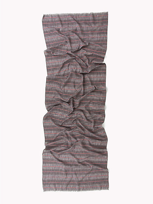 TOMMY HILFIGER Signature Stripe Cotton Scarf - OYSTER GRAY - TOMMY HILFIGER Scarves - detail image 1