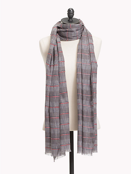 TOMMY HILFIGER Signature Stripe Cotton Scarf - OYSTER GRAY - TOMMY HILFIGER Scarves - main image