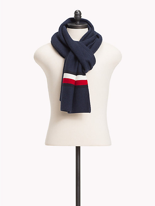 TOMMY HILFIGER Cotton Cashmere Blend Flag Scarf - TOMMY NAVY - TOMMY HILFIGER Scarves - main image