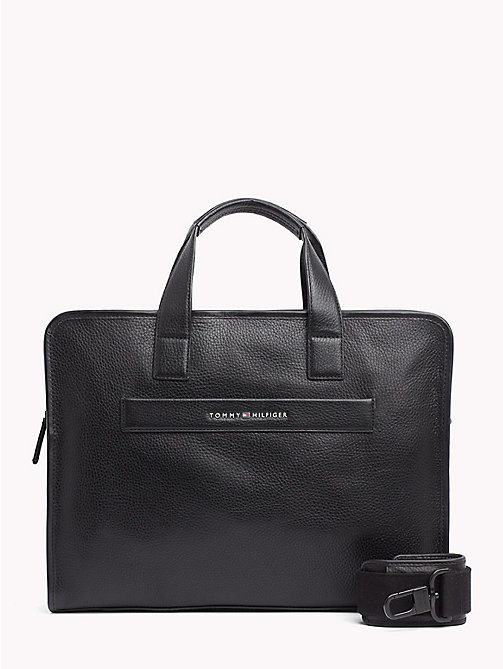 TOMMY HILFIGER Elevated Leather Computer Bag - BLACK - TOMMY HILFIGER Laptop Bags - main image
