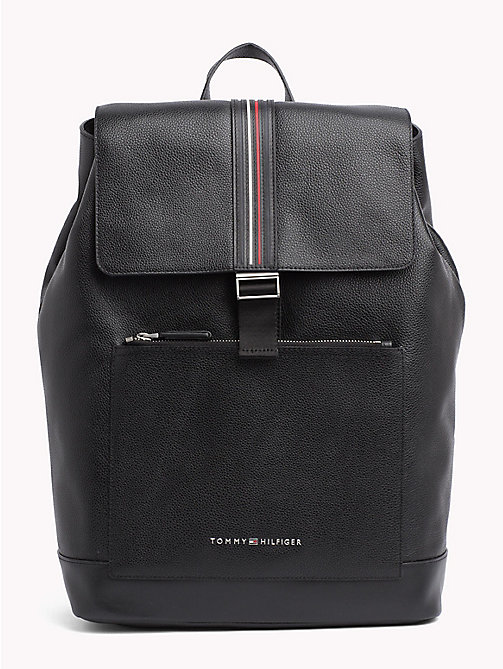 Inlay Leather Backpack - BLACK - TOMMY HILFIGER Backpacks - main image