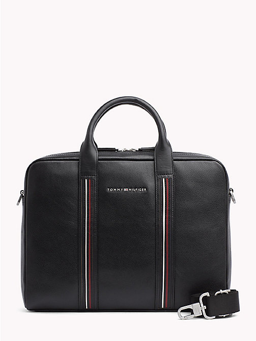 TOMMY HILFIGER Leren laptoptas met signature-tape - BLACK - TOMMY HILFIGER De beste outfits - main image