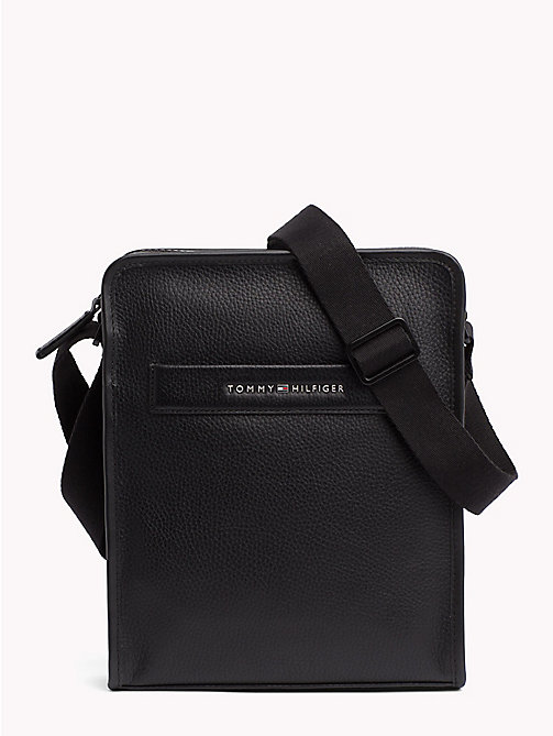 TOMMY HILFIGER Elevated Leather Reporter Bag - BLACK - TOMMY HILFIGER Crossbody Bags - main image