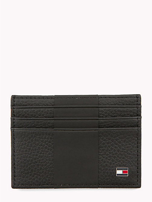 TOMMY HILFIGER Tommy Tape Leather Card Holder - BLACK - TOMMY HILFIGER Wallets & Keyrings - main image