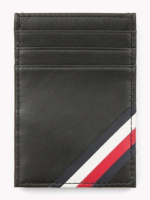 TOMMY HILFIGER Signature Leather Card Holder - BLACK - TOMMY HILFIGER Wallets & Keyrings - main image