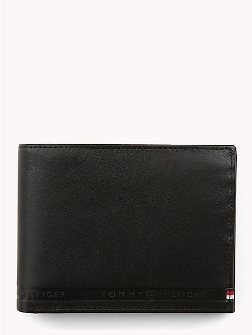 TOMMY HILFIGER Selvedge Embossed Leather Wallet - BLACK - TOMMY HILFIGER Wallets & Keyrings - main image