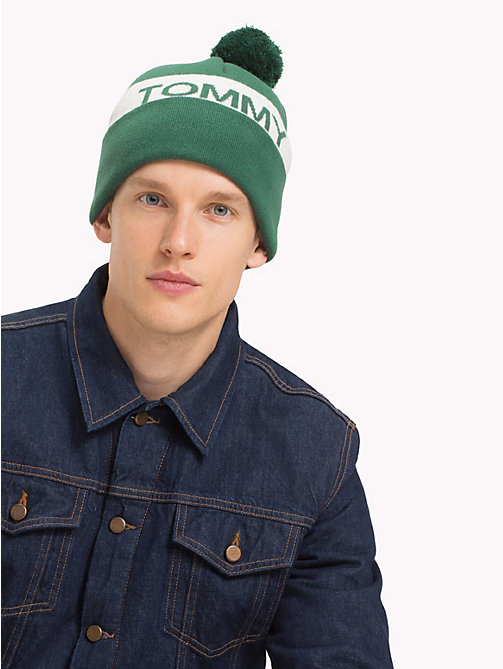 TOMMY JEANS Rugby Stripe Bobble Beanie - GREEN MIX - TOMMY JEANS Caps & Beanies - detail image 1