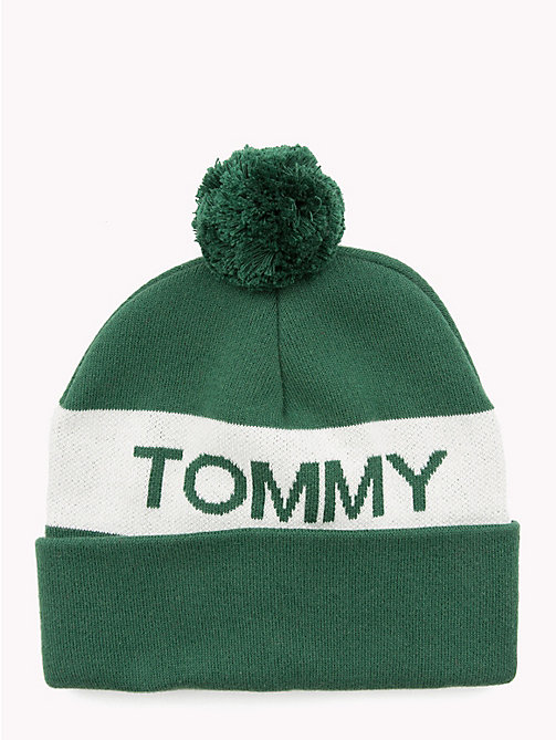 TOMMY JEANS Rugby Stripe Bobble Beanie - GREEN MIX - TOMMY JEANS Caps & Beanies - main image