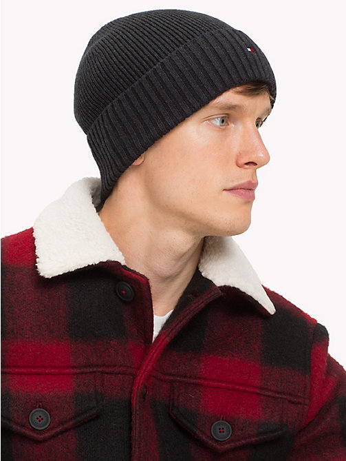 TOMMY HILFIGER Cotton Cashmere Beanie - BLACK - TOMMY HILFIGER Bags & Accessories - detail image 1