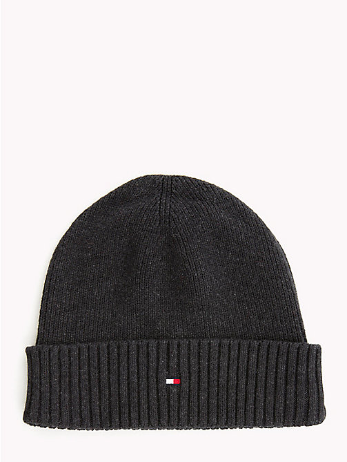 TOMMY HILFIGER Cotton Cashmere Beanie - BLACK - TOMMY HILFIGER Caps & Beanies - main image