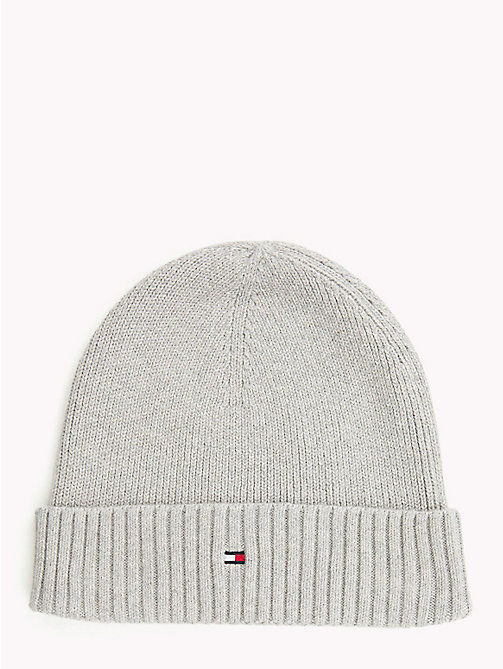 TOMMY HILFIGER Cotton Cashmere Beanie - LIGHT GREY HEATHER - TOMMY HILFIGER Caps & Beanies - main image