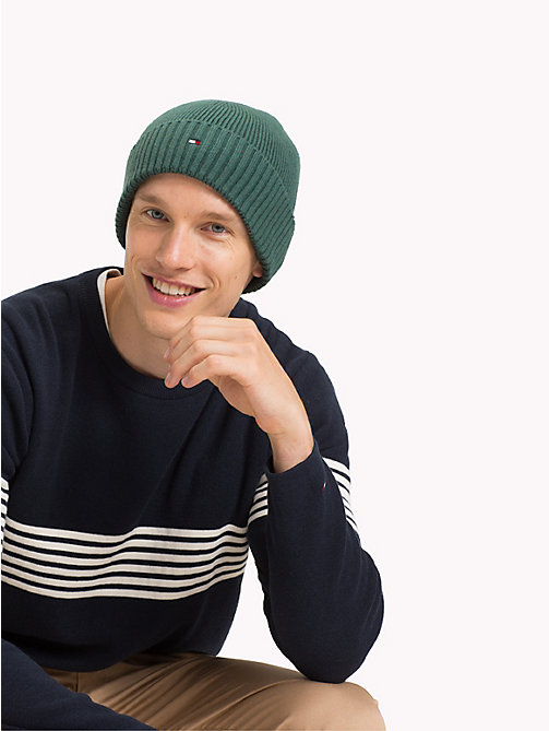 TOMMY HILFIGER Cotton Cashmere Beanie - RAIN FOREST - TOMMY HILFIGER Bags & Accessories - detail image 1