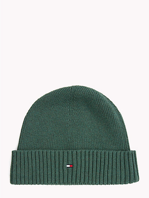 TOMMY HILFIGER Cotton Cashmere Beanie - RAIN FOREST - TOMMY HILFIGER Bags & Accessories - main image