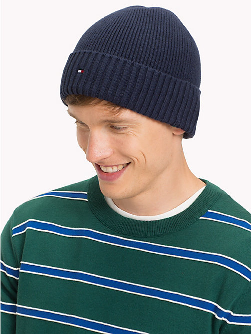TOMMY HILFIGER Cotton Cashmere Beanie - TOMMY NAVY - TOMMY HILFIGER Bags & Accessories - detail image 1