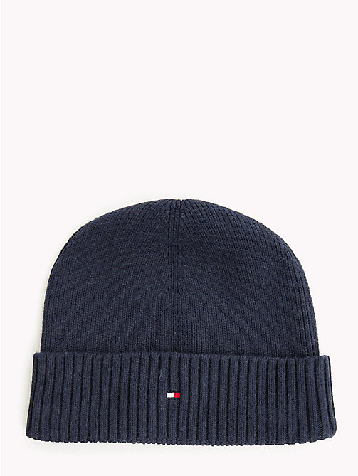 TOMMY HILFIGER Cotton Cashmere Beanie - TOMMY NAVY - TOMMY HILFIGER Bags & Accessories - main image