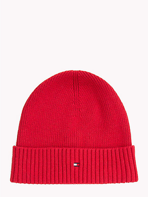 TOMMY HILFIGER Cotton Cashmere Beanie - TOMMY RED - TOMMY HILFIGER Hats - main image