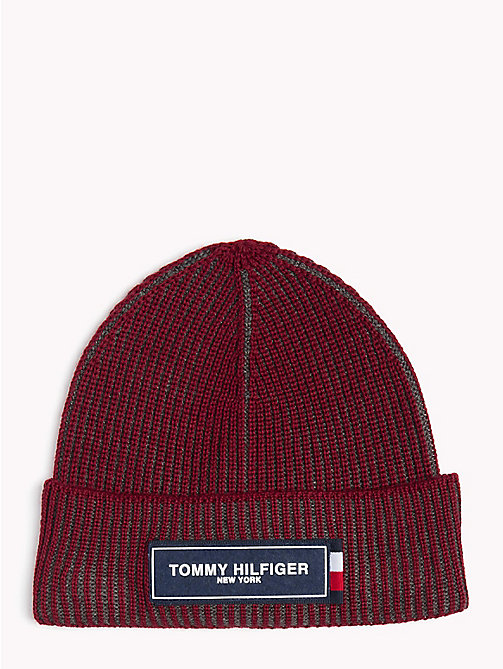 TOMMY HILFIGER Tommy Hilfiger Logo Beanie - RHUBARB MIX - TOMMY HILFIGER Caps & Beanies - main image