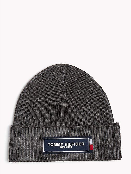 TOMMY HILFIGER Tommy Hilfiger Logo Beanie - LIGHT GREY MIX - TOMMY HILFIGER Hats - main image