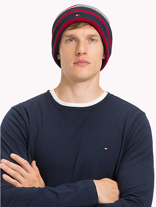 TOMMY HILFIGER Stripe Colour-Blocked Beanie - CORPORATE - TOMMY HILFIGER Caps & Beanies - detail image 1