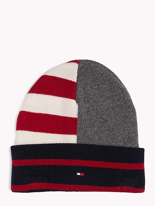 TOMMY HILFIGER Stripe Colour-Blocked Beanie - CORPORATE - TOMMY HILFIGER Caps & Beanies - main image