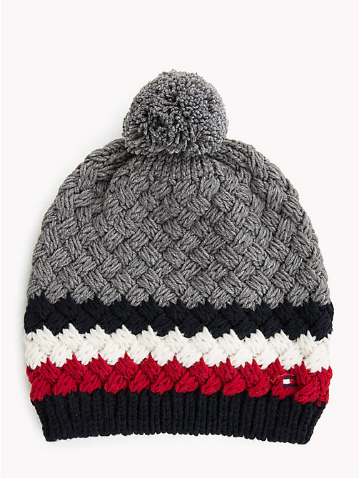 TOMMY HILFIGER Signature Bubble Knit Beanie - MID GREY HTR - TOMMY HILFIGER NEW IN - main image
