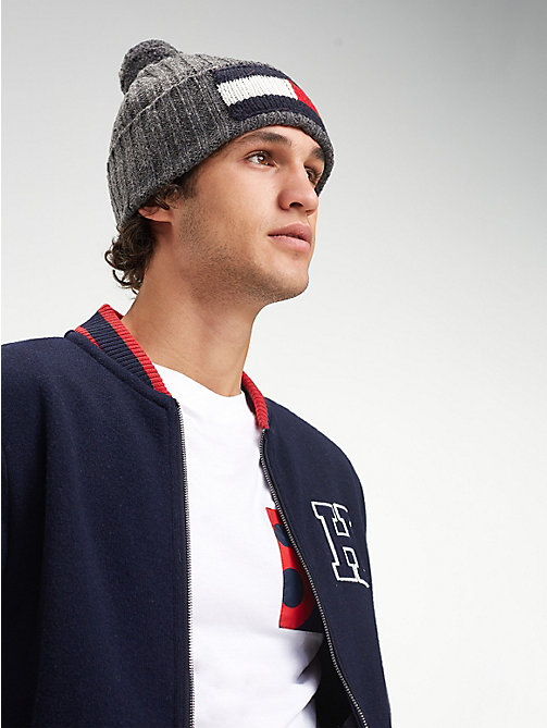 TOMMY HILFIGER Big Flag Knit Beanie - CHARCOAL HTR - TOMMY HILFIGER Winter Warmers - detail image 1