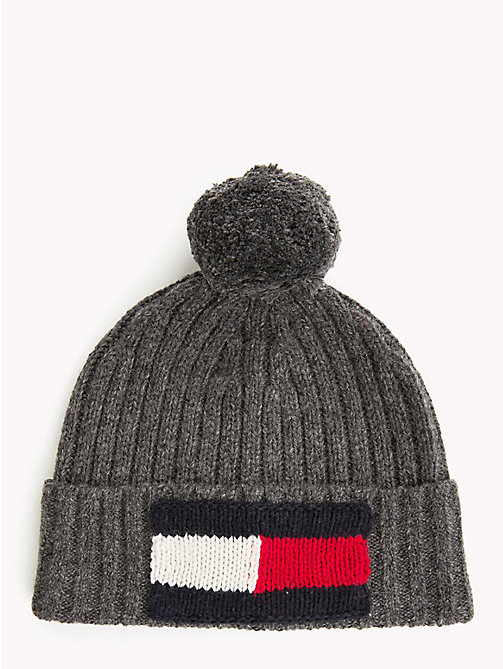 TOMMY HILFIGER Big Flag Knit Beanie - CHARCOAL HTR - TOMMY HILFIGER Winter Warmers - main image
