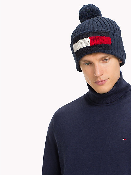 TOMMY HILFIGER Big Flag Knit Beanie - TOMMY NAVY - TOMMY HILFIGER Bags & Accessories - detail image 1